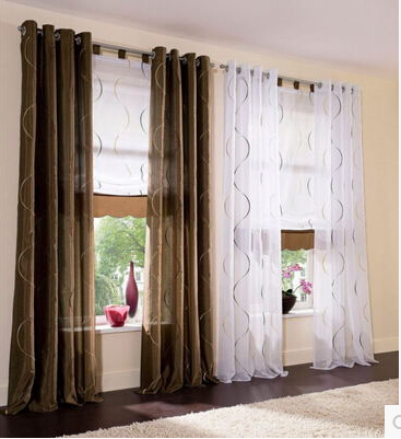 140cmwidth White Brown Green Tulle Yarn Voile Cloth Blind Curtains For Living Room Top Grade Window Embroidered Panels Curtain In From Home
