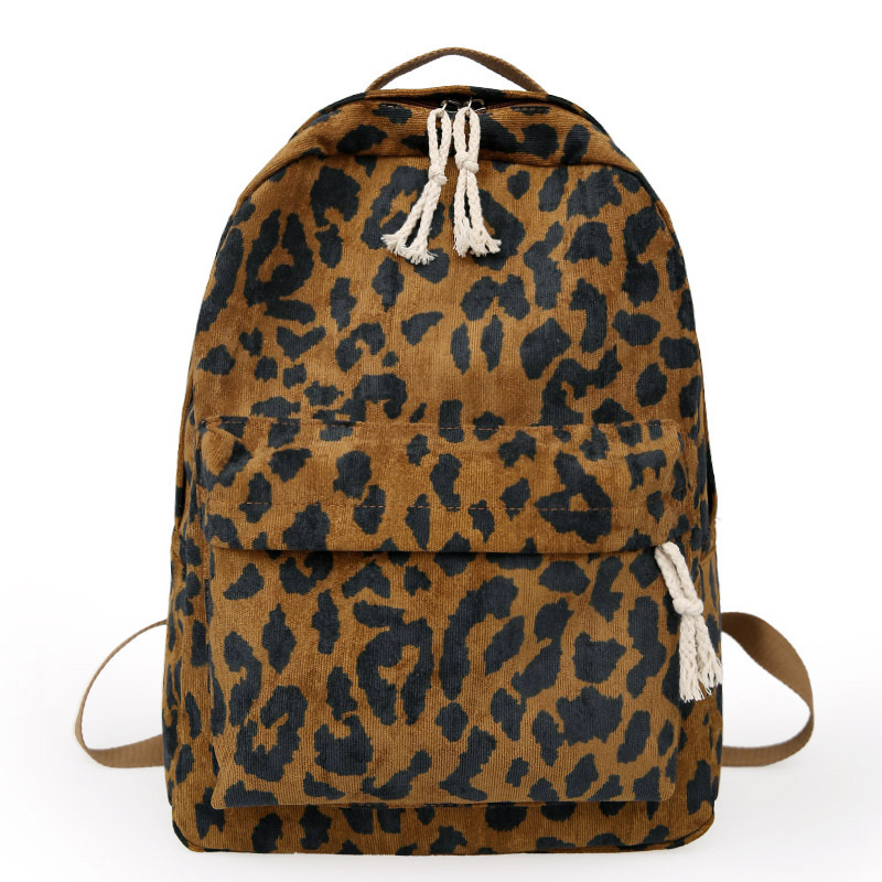 Fashion Female Backpack Leopard Print Corduroy Dual-Straps Woman Travel Backpack Large Capacity Girl School Shoulder Bag