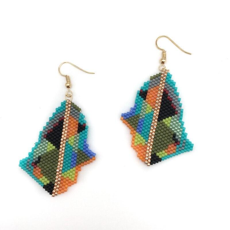 Boucles d'oreilles tissées à la mode pour femmes filles cadeaux d'anniversaire bijoux de mode minimaliste coloré géométrique boucles d'oreilles bijoux faits à la main