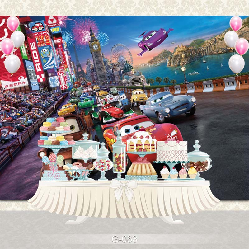 Vinyl new coming children birthday Party Photography Background carton car Backdrop Photo Backgrounds цена и фото