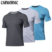 CARWORNIC Cotton Short Sleeve Causal T Shirt Men Gyms Fitness Bodybuilding Shirts Breathable Male Tee Tops T-shirt Clothing