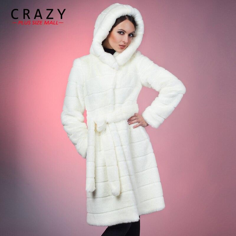 2018 S-5XL 6XL 7XL зима теплая искусственный достойный искусственного меха норки пальто с капюшоном Белый Роскошный Искусственный мех пальто плюс ...