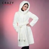 2018 S 5XL 6XL 7XL зима теплая искусственный достойный искусственного меха норки пальто с капюшоном Белый Роскошный Искусственный мех пальто плюс