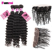 Funmi Indian Virgin Hair Bundles with Frontal Closure 3PCS Deep Wave Hair Bundles with 13x4 Pre Plucked Human Hair Lace Frontal(China)