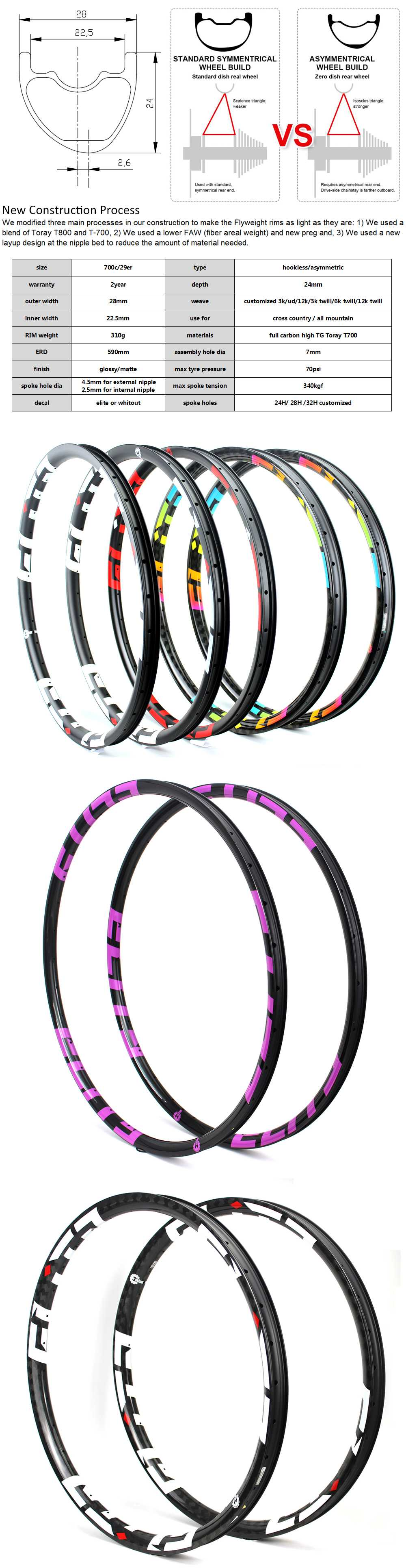 Carbon Rim 310g Super Light 29er MTB 28H 32H Mountain Bike Wheelset For XC//AM