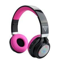 Беспроводной Bluetooth стерео гарнитура светодиодной вспышкой складные наушники Поддержка TF карты FM гарнитура с микрофоном для девочек Дети