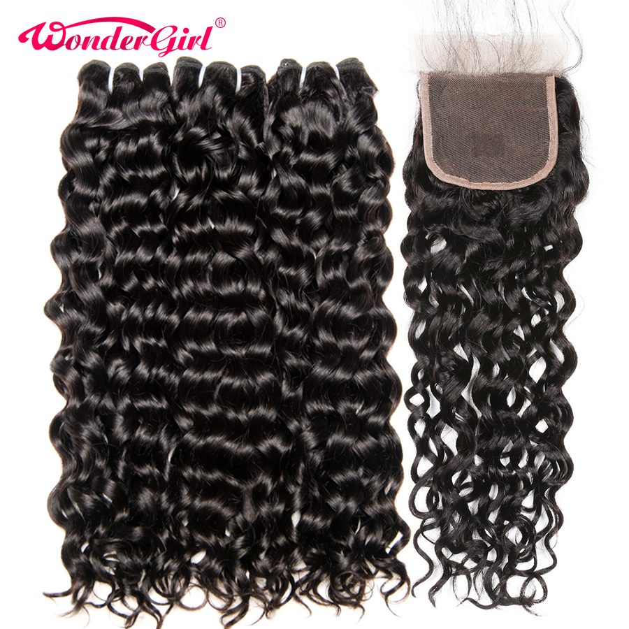 Remy Water Wave Peruvian Hair Bundles With Closure 100% Human Hair Bundles With Closure Wonder girl Hair Extensions