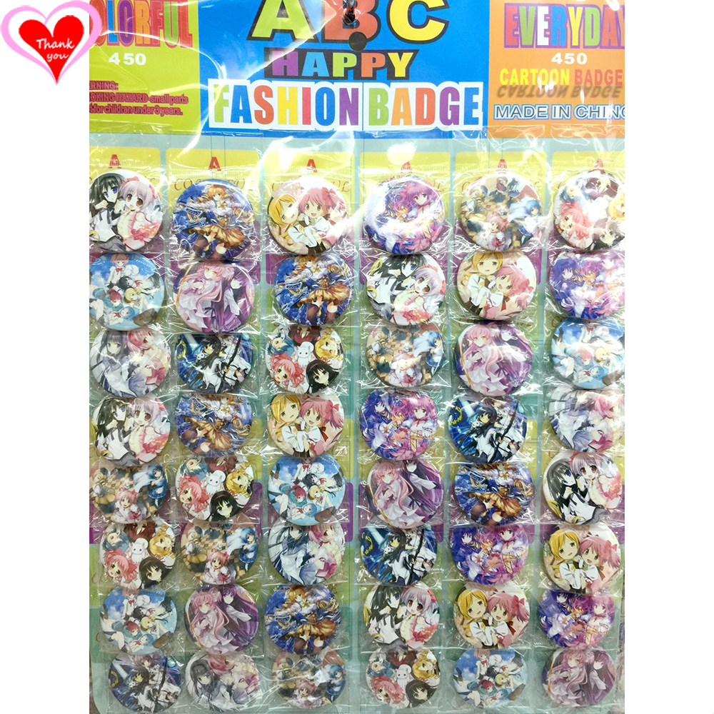 Gracias por el amor Puella Magi Madoka Magica 45 mm 16/24/32/40/48 pcs lote PIN ATRÁS PIN BOTÓN BOTÓN BROCHE para BAG REGALO TOY CLOTH ANTI