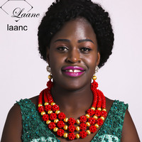 Laanc 3 Rows Red African Beads Jewelry Set Crystal Nigerian Beads Wedding Party Necklace Accessories AL621