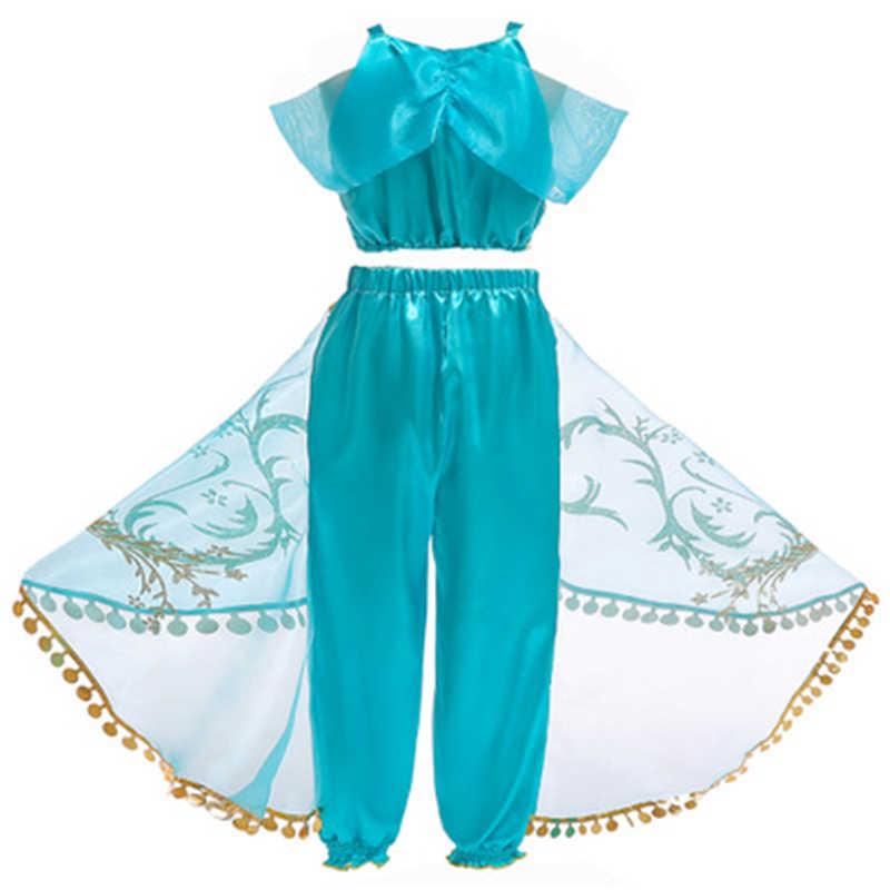 คุณภาพสูงเด็ก Aladdin เจ้าหญิงจัสมินเครื่องแต่งกายฮาโลวีนผู้หญิง Belly Dance ชุดแฟนซีวิกผมปาร์ตี้เครื่องแต่งกายชุดเด็ก