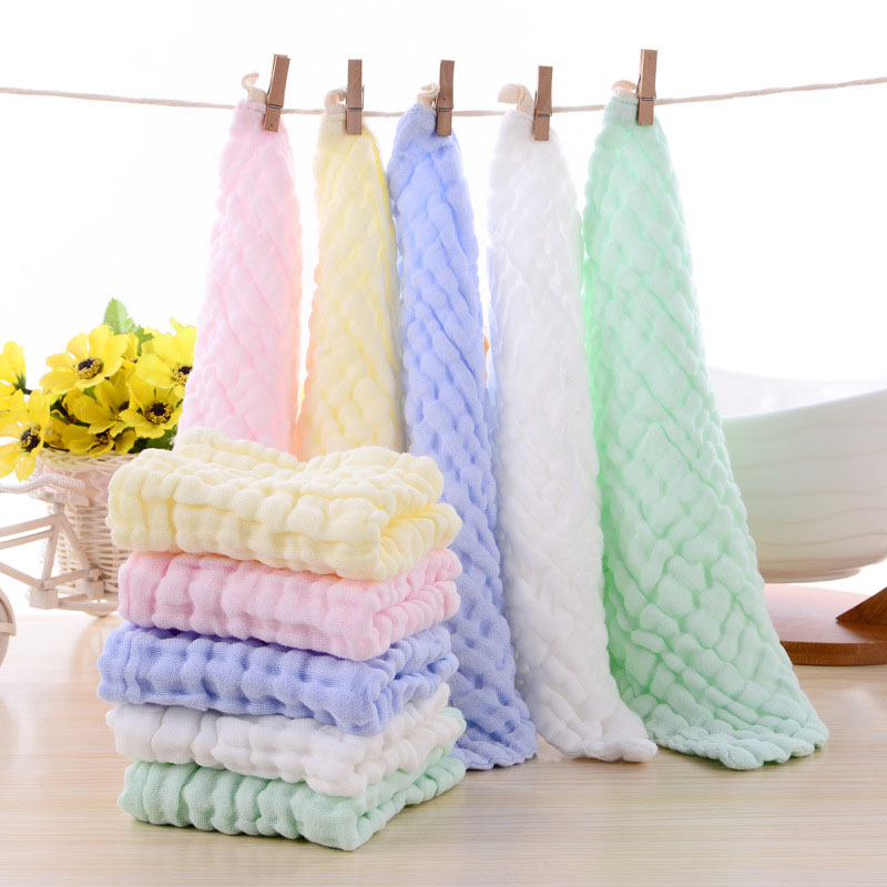 5 pcs/lot 5 Pure color cotton Baby Bibs Toddler Infant Baby Feeding Waterproof Saliva Square scarf Apron Towels