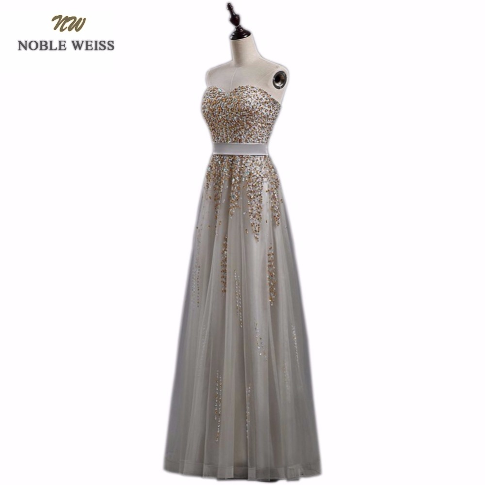 NOBLE WEISS New Sweetheart Grey Sparkly Vestido de Festa Zipper Back Evening Gowns 2019 Elegant Sexy Beading Tulle Prom Dress