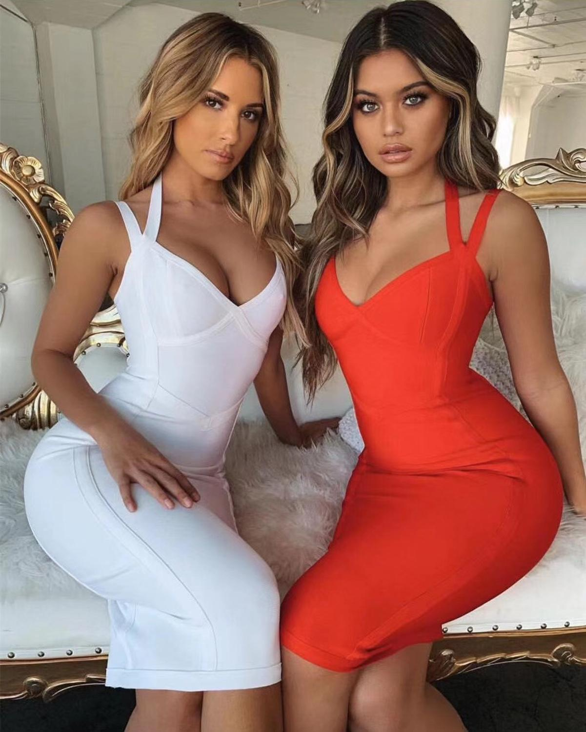 Free Shipping Women Summer Style Sexy V Neck Backless Black Red Bandage Dress 2020 Designer Fashion Evening Party Dress Vestido