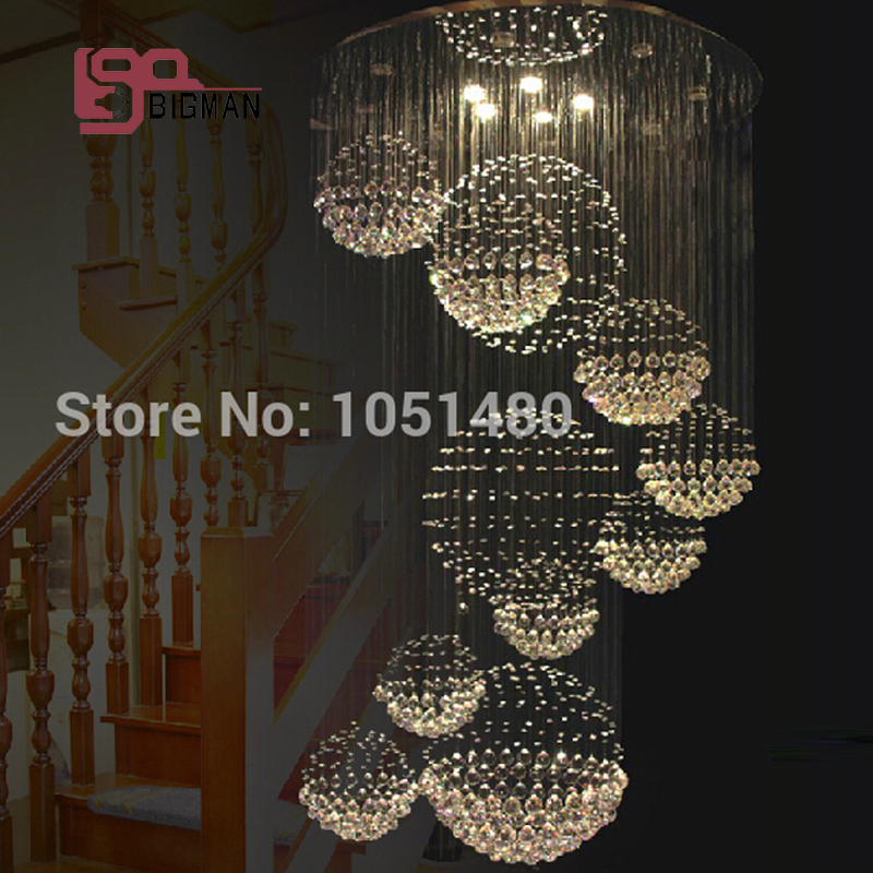 Free shipping large crystal lamp modern crystal chandeliers lighting Dia100cm hall lights lustre staircase chandelier
