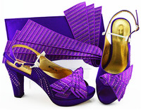 Charming purple high heel African shoes and evening bag set with rhinestones for fashion lady MM1084
