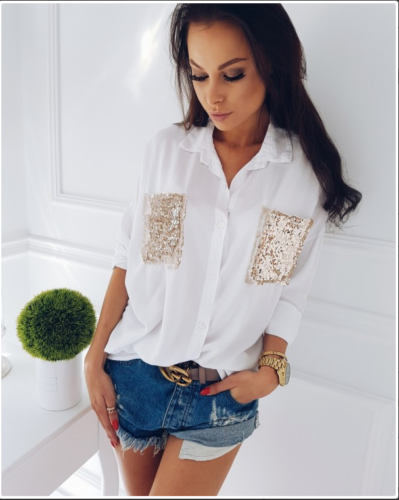 3361857fa1d8 Fashion New Summer Women Casual Chiffon Shirt Long Sleeve Ladies Shirts  Sequined Pockets Loose Tops Blouse