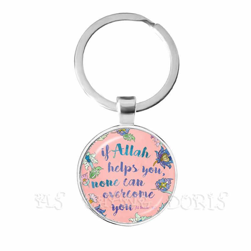 Mới Thời Trang Nam Nữ Allah Hồi Giáo Tôn Giáo Hồi Giáo Móc Khóa Cho Trung ESAT Ả Rập 25mm Vòm Kính Cabochon Keyholder Nhẫn bộ trang sức