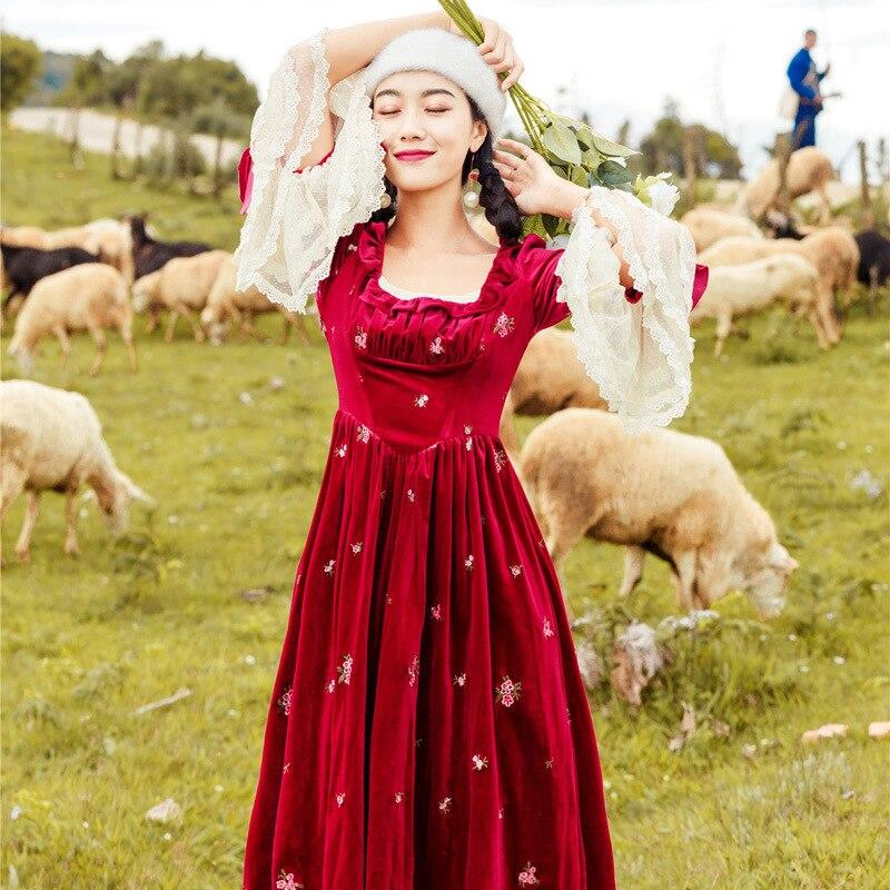 De Vintage Sexy Profonde Femmes Casual Nouvelles Velours Dentelle 1950 Flare Carrée Encolure Red Robe Automne S Patchwork blue Manches tFnYw6zZq6