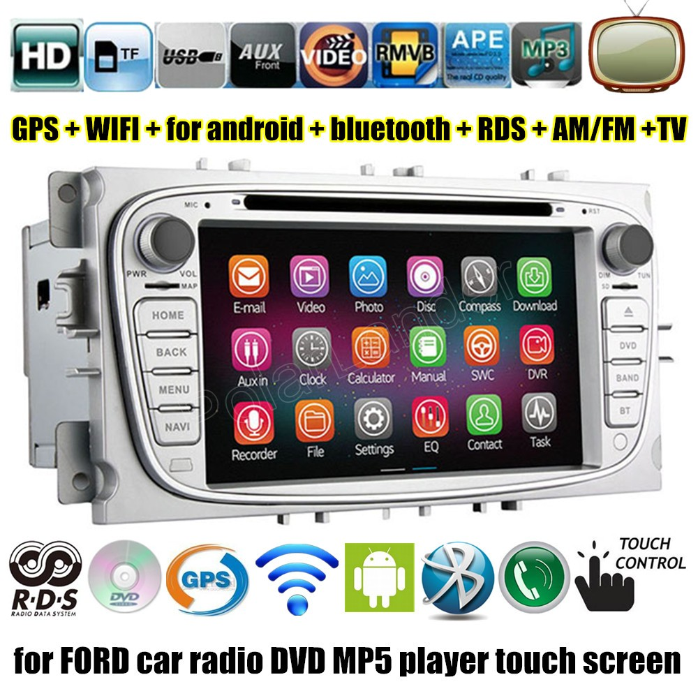 2 Din for Android 4.4 4 Car DVD Player <font><b>GPS</b></font> for <font><b>Ford</b></font> Focus <font><b>Mondeo</b></font> S-max C-max 2007 2008 2009 <font><b>2010</b></font> 2011 Radio 7 inch WIFI image