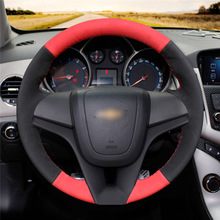 Black Suede leather Red Leather Hand Sew Wrap Car Steering Wheel Cover  For Chevrolet Cruze 2009-2014 / Aveo 2011-2014 mewant wine red leather black suede car steering wheel cover for chevrolet cruze 2009 2014 aveo 2011 2014 orlando 2010 2015