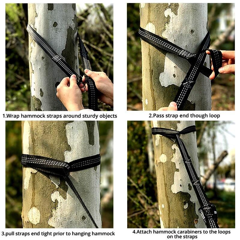Image 5 - 2X 2.8M Strong Strap Belt Hammock Tree Straps Hanging Straps Rope Super Multi Player Hammock Strap Belt Flyknit Hamac Hamaca-in Hammocks from Furniture