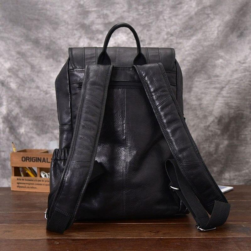 AETOO sac à dos en cuir de cheval fou pour hommes multifonctionnel en cuir véritable 14 sac à dos pour ordinateur portable en cuir de vache sacs d'école à bandoulière - 4
