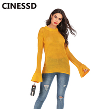 CINESSD Knitted Pullovers Sweaters Black Round Neck Flare Long Sleeves Casual Loose Tops Tee Shirts Autumn Hollow Thin Sweaters black v neck long sleeves loose plunge knitted sweaters