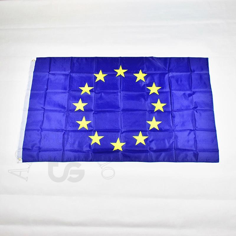 Европска унија ЕУ 90 * 150цм застава Банер Бесплатна достава Висећа државна застава за сусрет, параду, забаву.