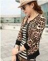 Бесплатная Доставка Мода Горячие Продажа Леопард С Длинным Рукавом ПУ Украшенные Куртка Пальто Краткости Как Изображение