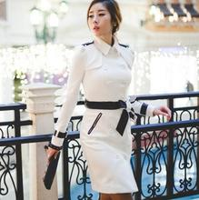 цены Double breasted trench coat women long-sleeve medium-long coats female trench coats 2019 new autumn fashion slim white black