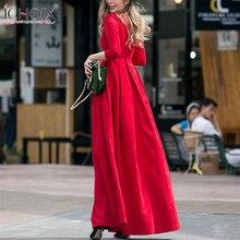 Elegant women vintage maxi dress a-line  autumn winter 2017 new pleated elegant high waist brand big size dress Fashion