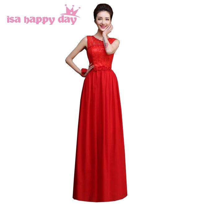 Vestido longo de festa femmes soirée robe de mariée rouge étage longueur femmes en mousseline de soie robe de soirée longue 2019 formelle robe H4234