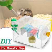 Small DIY Single Layer Hamster Cage Funny Guinea Pig Cage Small Pets Mice House Chinchilla Hedgehog Hamster Acrylic House