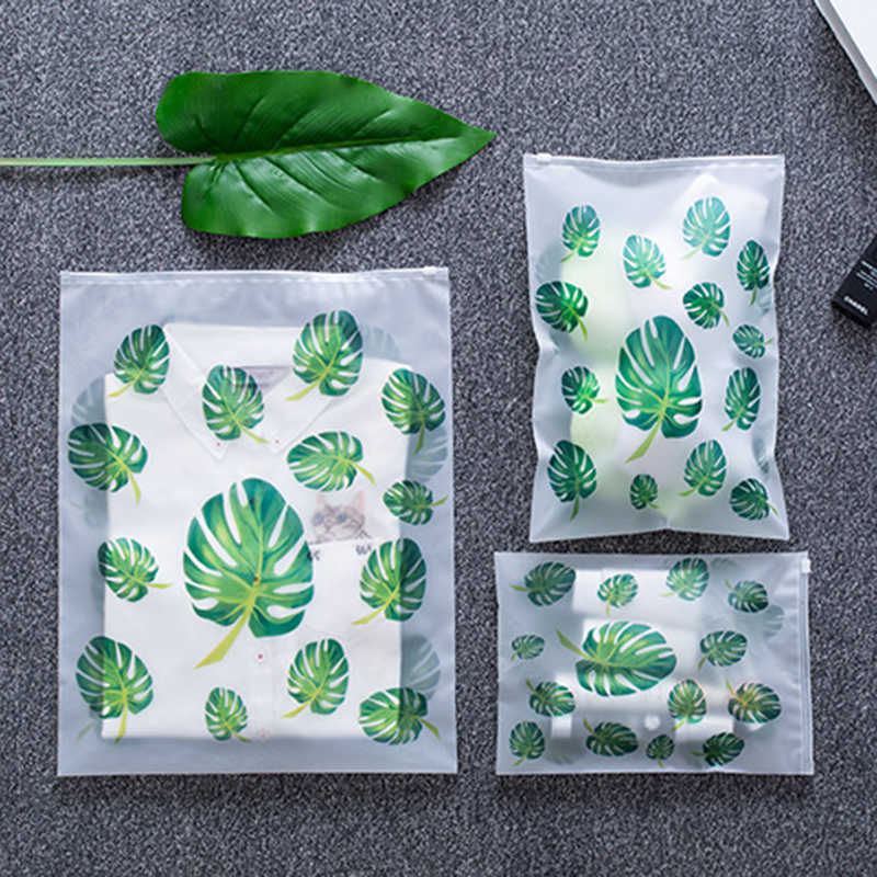 Leaf Print Transparent Travel Storage Bag Waterproof Sealed Eco Friendly Travel Luggage Clothes Sorting Bags Kitchen Accessories