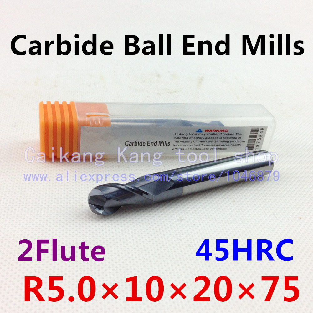 New 2 Flute Head: 10mm Carbide Ball End Mills Tungsten steel cutter  CNC milling Highest cutting hardness: 45HRC R5*10*20*75mm  цены