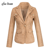2017 Summer New Women Jackets Long Sleeves V Neck Jackets Single Button Lace Up Celebrity Party