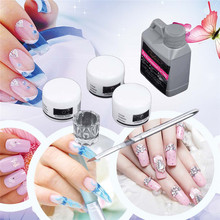 1 Set Portable Acrylic Liquid Crystal Powder Nail Art Tool Kit Set DIY Nail Art Tip Builder Transparent Clear Glass Nail Polish