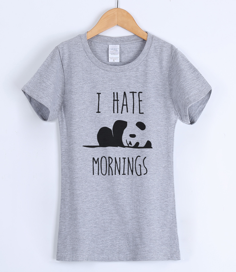 I HATE MORNING PANDA animal cartoon kawaii T-shirts for women 2019 summer o-neck female T-shirt harajuku top tee shirt femme hot