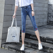 Loyalget Skinny Jeans Capris Female Summer Women Stretch Knee Length Denim Pants Womens With High Waist Plus Size Jean