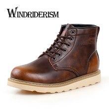 Windriderism 2017, Новая мода Для мужчин ботинки Martin корова Разделение кожа сапоги для мужчин Высокое качество Кружево до Для мужчин S резиновые сапоги для дождя