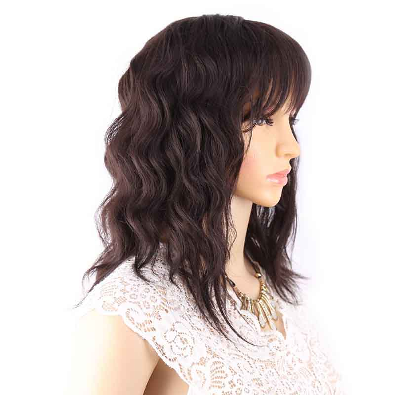 Amir Bob Wig Synthetic Mixed Color Black Mix Dark Brown Wigs For Women Medium Length Heat Resistant Cosplay Wigs