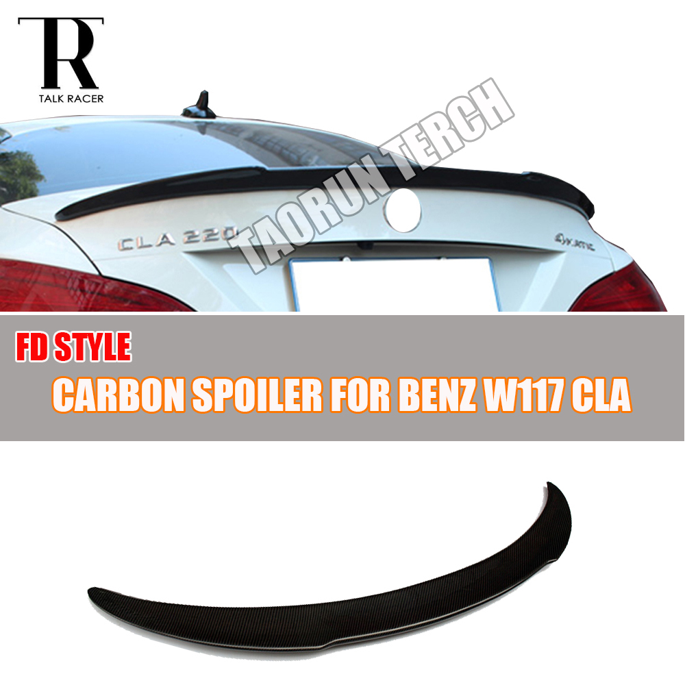 C117 FD Style Carbon Fiber Rear Lip Wing Spoiler for Mercedes Benz C117 W117 CLA180 CLA200 CLA250 CLA45 AMG 2013 - 2015 2015 2016 amg style w205 carbon fiber rear trunk spoiler wings for mercedes c class c180 c200 c250 c300 c350 c400 c450 c220