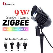 زيجبي مصباح ليد للحديقة 9 واط ac110 240v الذكية APP التحكم زيجبي ضوء وصلة rgb + cct في الهواء الطلق ضوء العمل مع الأمازون صدى زائد زيجبي