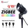 Zigbee conduziu a lâmpada do jardim 9w ac110 240v inteligente app controle luz zigbee ligação rgb + cct ao ar livre luz trabalho com amazon eco mais zigbee