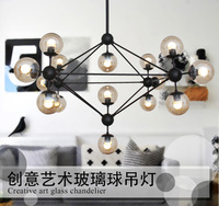 DNA Lustres Magic Beans Pendant Lights wrought iron industrial Cafe project lamps Nordic Art Deco glass ball MOD hanging lights