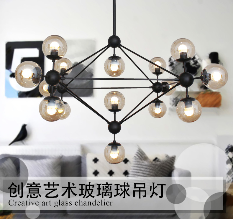DNA Lustres Magic Beans Pendant Lights wrought iron industrial Cafe project lamps Nordic Art Deco glass ball MOD hanging lights nodic magic beans dna lustres pendant light modern wrought iron e27 led home hanglamp industrial cafe art deco project lamps