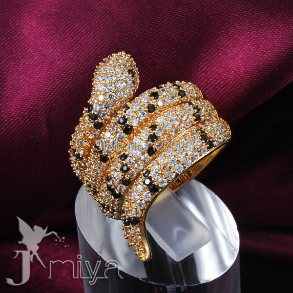 Fashion party jewelry gold plated swiss CZ diamond snake ring classic design Christmas gift for woman