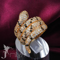 Fashion party jewelry  gold plated swiss CZ diamond snake ring classic design Christmas gift for woman Jmiya brand R469