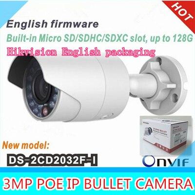 English original waterproof security network cctv camera DS-2CD2032F-I 3MP IR ip camera mini support POE English packaging