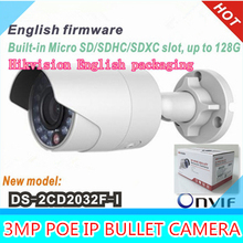 English original waterproof security network cctv camera DS-2CD2032F-I 3MP IR ip camera mini support POE English packaging